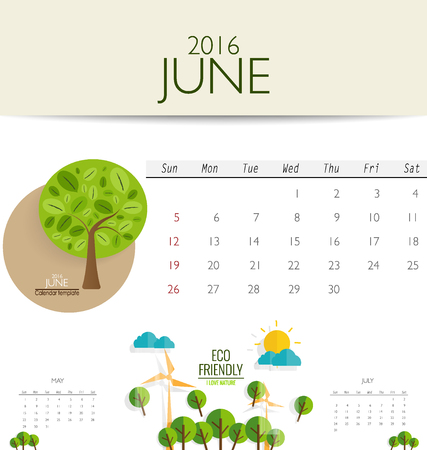 monthly calendar: 2016 calendar, monthly calendar template for June. Vector illustration.