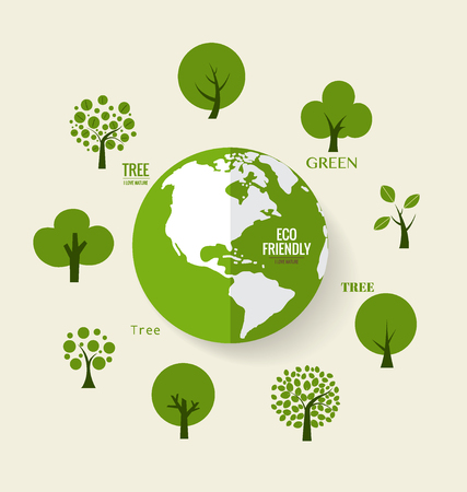 ECO FRIENDLY. Ecology concept with Green Eco Earth and Trees. Vector illustration.  イラスト・ベクター素材