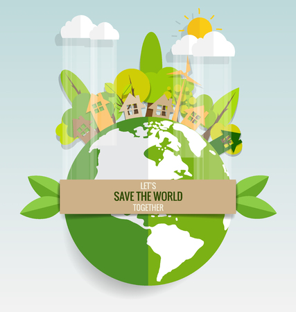 nature eco: ECO FRIENDLY. Ecology concept with Green Eco Earth and Trees. Vector illustration. Illustration