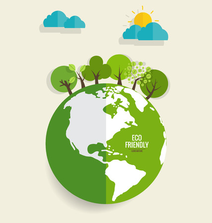 ECO FRIENDLY. Ecology concept with Green Eco Earth and Trees. Vector illustration. Illusztráció