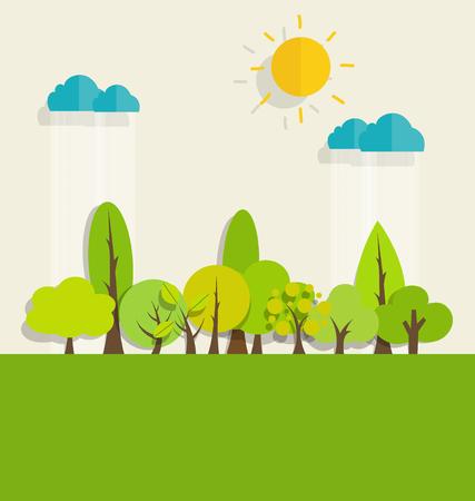 planeta verde: ECO FRIENDLY. Concepto de la ecología con el fondo del árbol. Ilustración del vector.