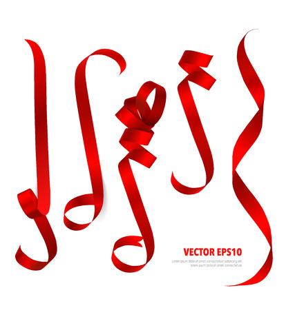 Glanzend rood lint op een witte achtergrond met een kopie ruimte. Vector illustratie. Stock Illustratie