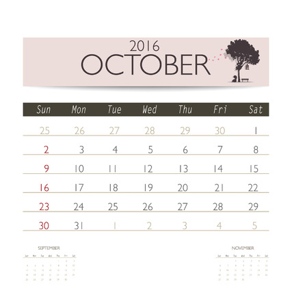 monthly calendar: 2016 calendar, monthly calendar template for October. Vector illustration. Illustration