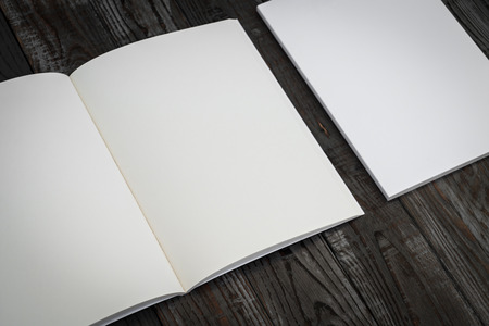 blank book cover: Blank catalog, magazines,book mock up on wood background