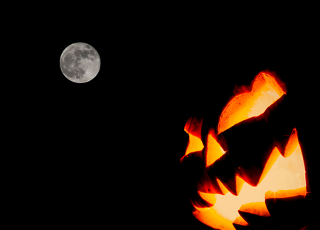 Halloween scary face pumpkin ( Filtered image processed vintage effect. )