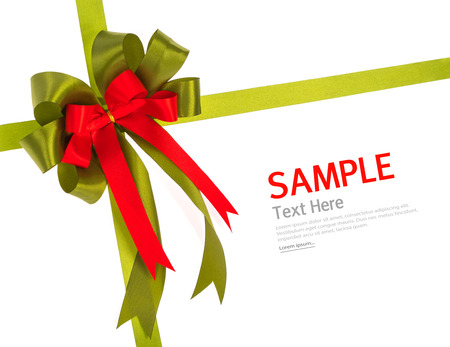 shimmery: Shiny red and green ribbon on white background with copy space.