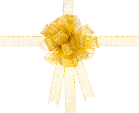 shiny gold: Shiny gold ribbon on white background with copy space.