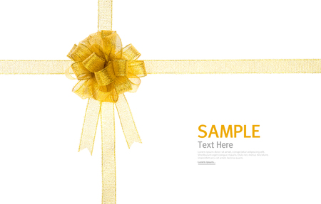 shimmery: Shiny gold ribbon on white background with copy space.
