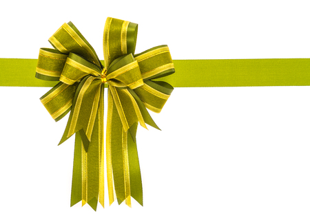 shimmery: Shiny green ribbon on white background with copy space.