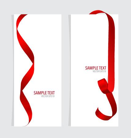 Cartes avec des rubans rouges. Illustration vectorielle