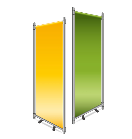 retail display: Blank roll up banner display. Vector illustration.