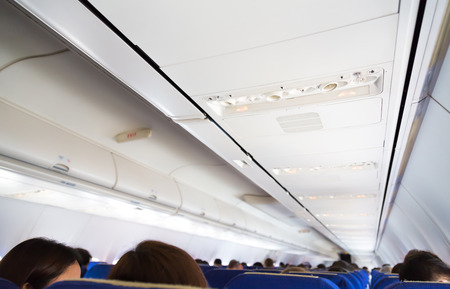 seat belt: No smoking sign and seat belt sign on the airplane Stock Photo