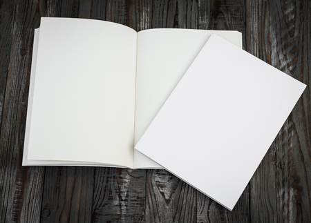 folleto: Cat�logo en blanco, revistas, libros maqueta en madera de fondo