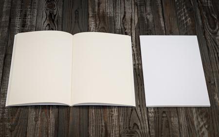 magazine: Blank catalog, magazines,book mock up on wood background