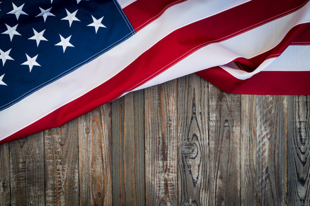 stars and stripes background: American flag on wood background