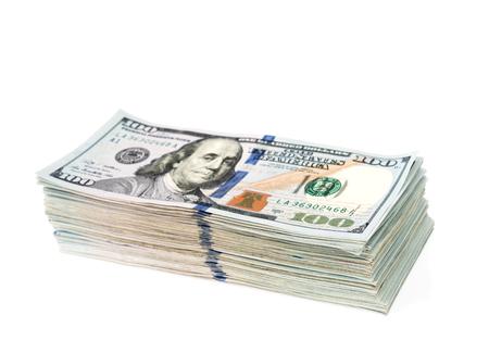 dollar: Un centinaio di banconote in dollari su sfondo bianco