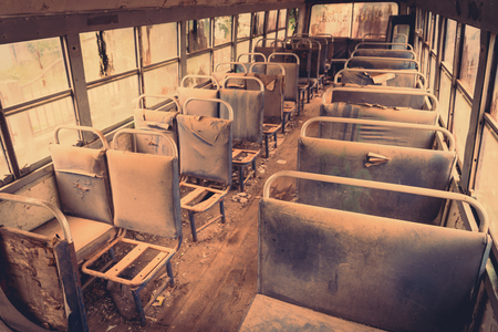 old bus: Old bus interior ( Filtered image processed vintage effect. ) Stock Photo