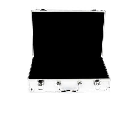 silver metal: Metal Case on white background Stock Photo