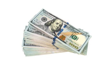 cuenta: Billetes de cien dólares en el fondo blanco Foto de archivo