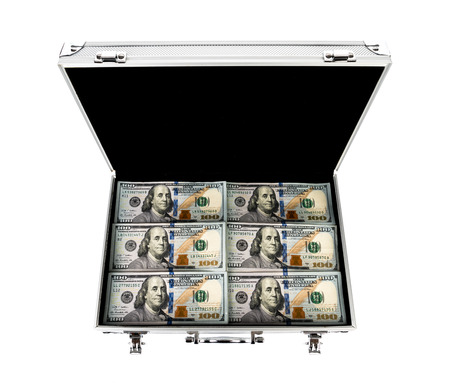 redemption: Suitcase of money with hundred dollar on white  background Stock Photo