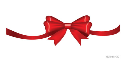 shimmery: Gift bow and shiny red ribbon on white background with copy space. Vector illustration. Illustration