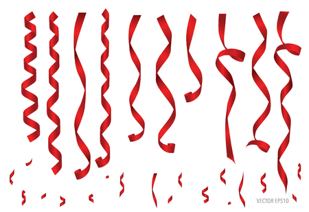 Shiny red ribbon on white background with copy space. Vector illustration.
