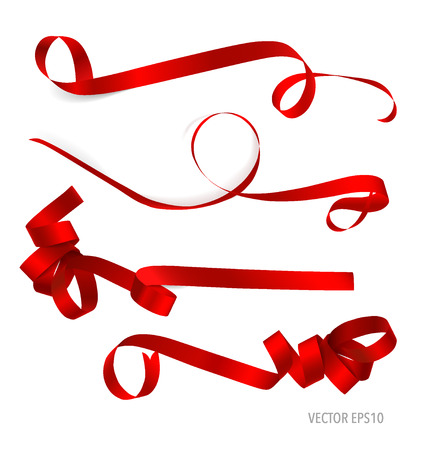 shimmery: Shiny red ribbon on white background with copy space. Vector illustration.