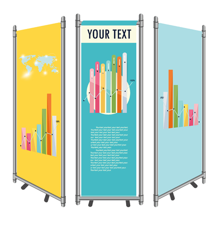 business exhibition: Vector blank roll up banner display template for designers Illustration