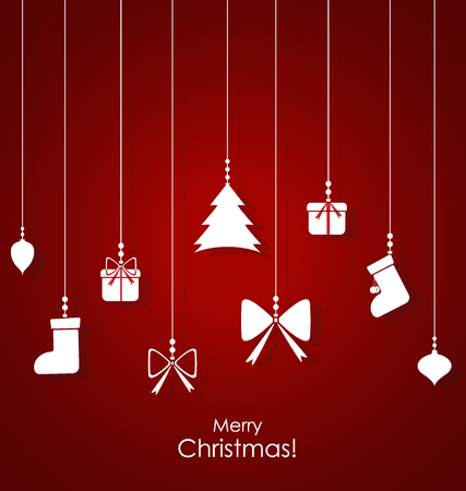 christmas gifts: Christmas background with Christmas decorations. Vector illustration. Illustration