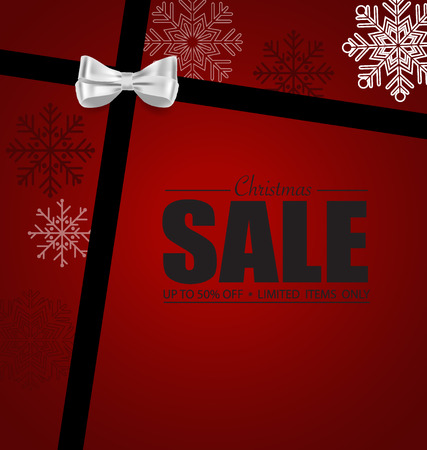 end of year: End of year sale. Gift coupon with gift bow and ribbon. Modern Style template Design vector illustration.
