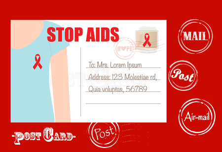 awareness ribbons: Aids Awareness cards design, women wearing ribbons for World Aids Day. Vector Illustration.