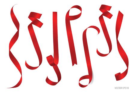 コピー スペースで白い背景に光沢のある赤いリボン。ベクトルの図。 写真素材 - 48188117