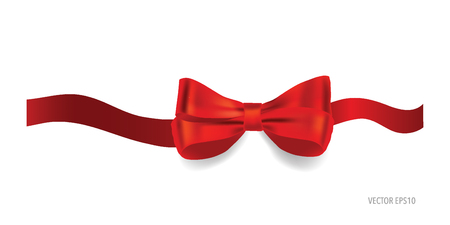 red bow: Gift bow and shiny red ribbon on white background with copy space. Vector illustration. Illustration