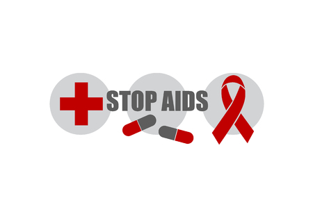 aids awareness: Aids Awareness Red heart Ribbon on white background. Vector illustration. Illustration