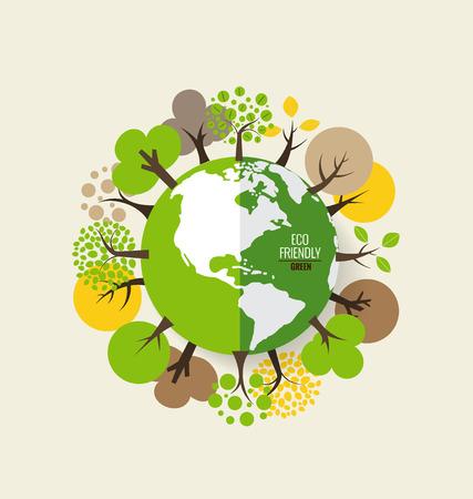 UMWELTFREUNDLICH. Ökologie-Konzept mit Green Eco Erde und Bäume. Vektor-Illustration.