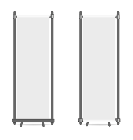 Blank roll up banner display. Vector illustration.