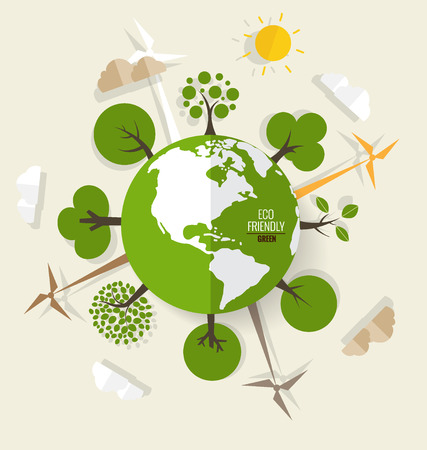 ECO: ECO FRIENDLY. Ecology concept with Green Eco Earth and Trees. Vector illustration. Illustration