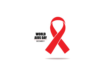 cause: Aids Awareness Red heart Ribbon on white background. Vector illustration. Illustration