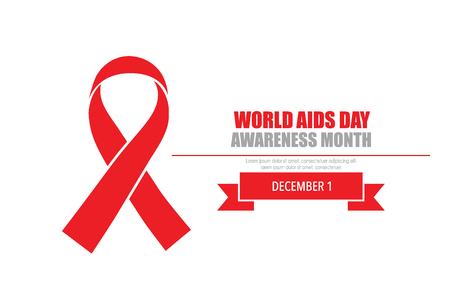 Aids Awareness Red Ribbon cuore su sfondo bianco. Illustrazione vettoriale.