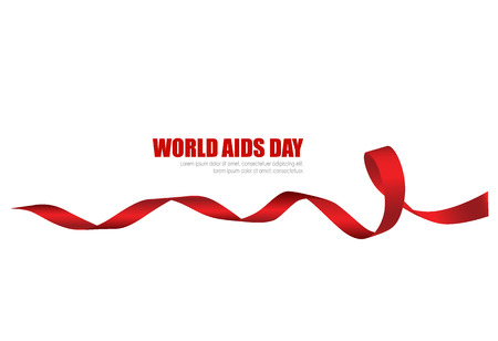 Aids Awareness Red heart Ribbon on white background. Vector illustration. Vettoriali