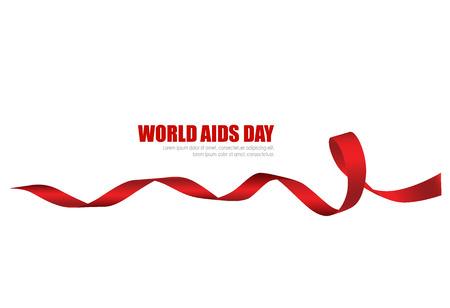 Aids Consapevolezza Cuore rosso Nastro su sfondo bianco. Illustrazione vettoriale. Archivio Fotografico - 48188472