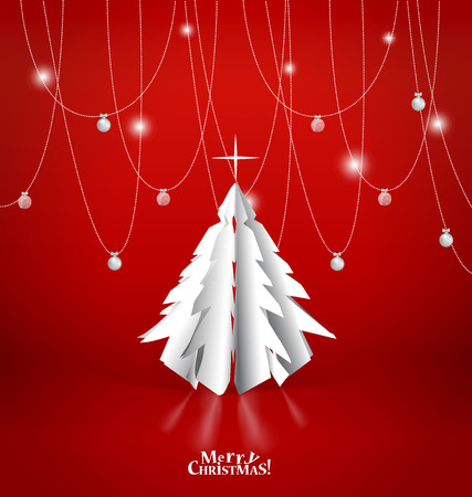 Merry Christmas greeting card with origami Christmas tree, vector illustration. Illustration