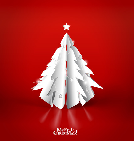 xmas card: Merry Christmas greeting card with origami Christmas tree, vector illustration. Illustration