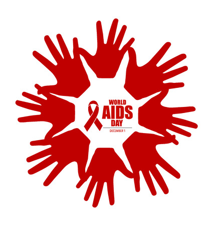 red  ribbon: Stop AIDS: Hand with ribbon. Vector illustration.