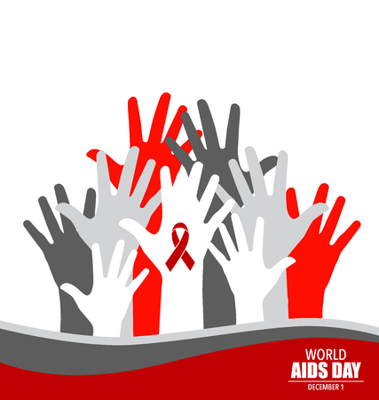 aids: Stop AIDS: Hand with ribbon. Vector illustration.