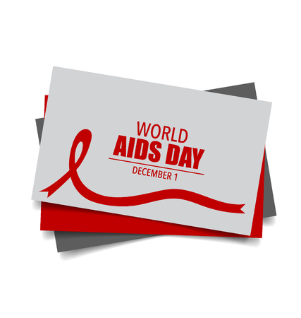 substance abuse awareness: Aids Awareness Red heart Ribbon on white background. Vector illustration. Illustration