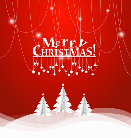 bubble background: Merry Christmas greeting card with origami Christmas tree, vector illustration. Illustration