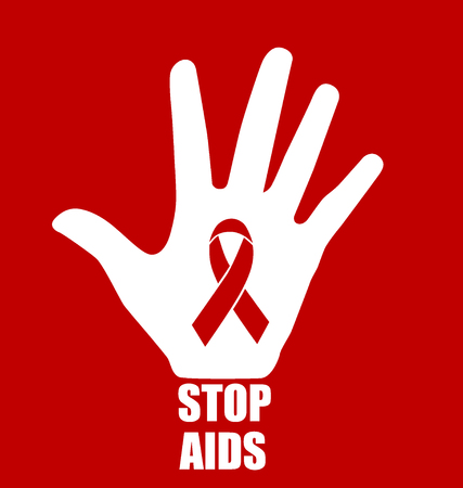 substance abuse awareness: Stop AIDS: Hand with ribbon. Vector illustration.