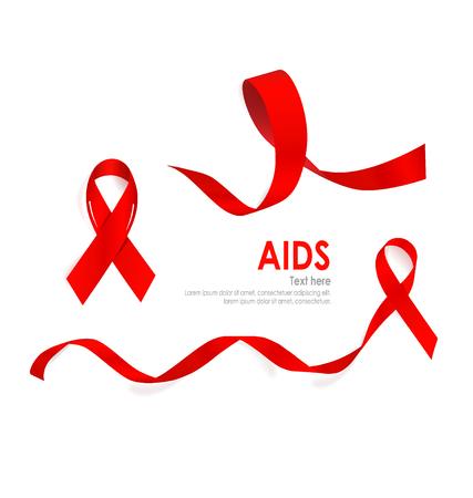 hiv awareness: Aids Awareness Red heart Ribbon on white background. Vector illustration. Illustration