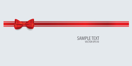 red ribbon bow: Gift bow and shiny red ribbon on white background with copy space. Vector illustration. Illustration